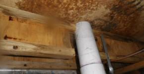 Moisture damage under the bathroom